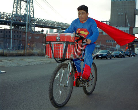 NOE REYES from the State of Puebla works as a delivery boy in Brooklyn New YorkHe sends 500 dollars a week