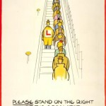 Please stand on the right of the escalator, by Fougasse, 1944