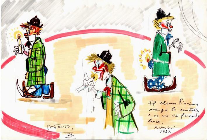 Disegno per I clowns - Il clown Pierino con la candela