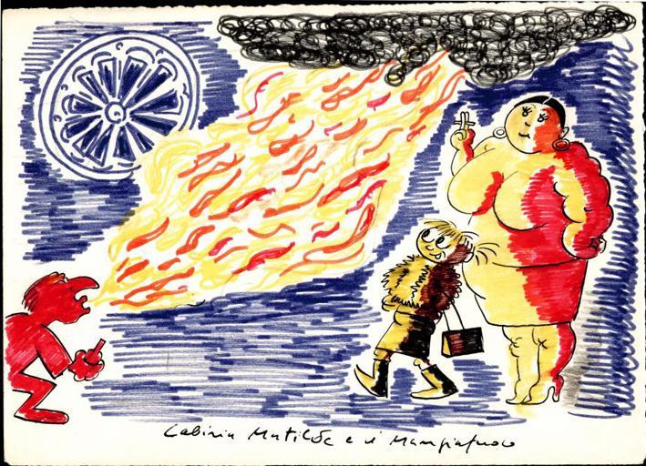 Disegno per Lo sceicco bianco: Cabiria, Matilde e Mangiafuoco